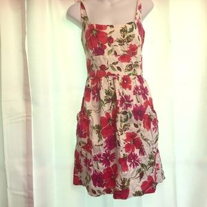 Red Floral Print Dress with Pockets